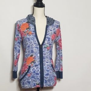 Free people floral hoodie distress with zipper